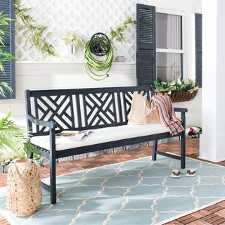 Safavieh Bradbury 3-seat Dark Slate Grey/ Beige Bench