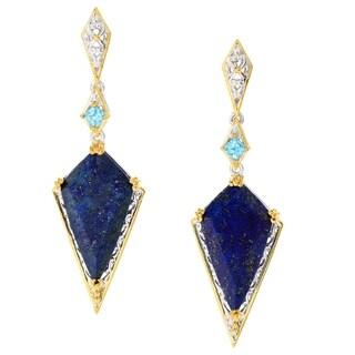 Michael Valitutti Palladium Silver Lapis Lazuli & Swiss Blue Topaz Dangle Earrings