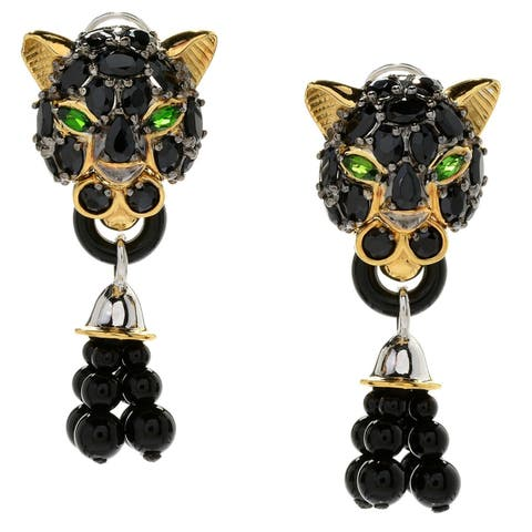 Michael Valitutti Palladium Silver Black Spinel Panther & Onyx Tassel Earrings