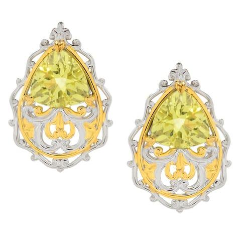 Gems en Vogue Palladium Silver Trillion Shaped Gemstone Scrollwork Stud Earrings