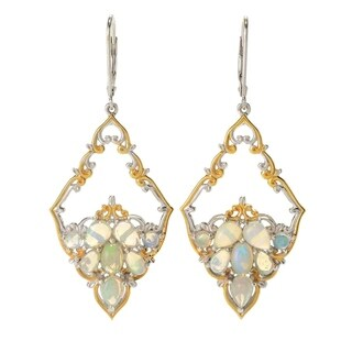 Michael Valitutti Palladium Silver Multi Shape Ethiopian Opal Diamond Shaped Drop Earrings