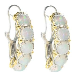 Michael Valitutti Palladium Silver Ethiopian Opal Five-Stone J-Hoop Earrings w/ Omega Backs