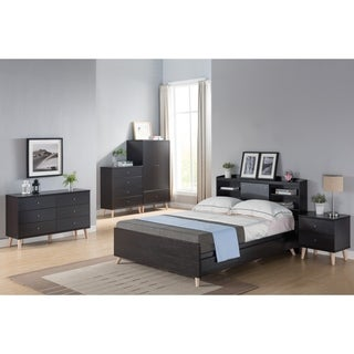Basil Contemporary Cappuccino Platform Storage Bed with Headboard