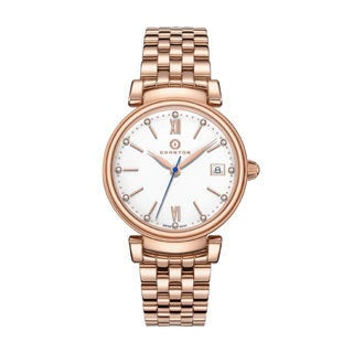 "Granton Women's Diamond Accented Enamel Dial ""Imperial"" Watch with a Swiss Movement, Rose Gold or Silver"