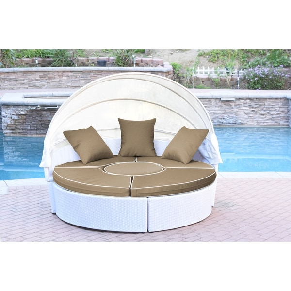 All Weather White Wicker Sectional Daybed