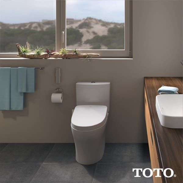 Shop Toto Washlet S500e Electronic Bidet Toilet Seat With Ewater And Contemporary Lid Elongated Cotton White Sw3046 01 Overstock 20525945