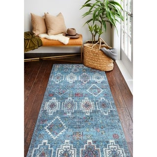 "Gilbert Blue Transitional  Area Rug - 2'6"" x 8' Runner"