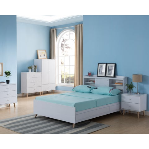 Bridgette Modern White Platform Storage Bed with Headboard