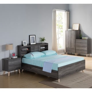 Riley Contemporary Distressed Grey Platform Storage Bed with Headboard