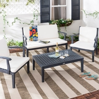 Safavieh Outdoor Living Bradbury Dark Slate Grey/ Beige 4-piece Set