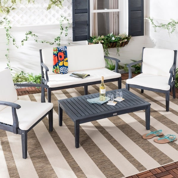 Safavieh Outdoor Living Bradbury Dark Slate Grey/ Beige 4-piece Set