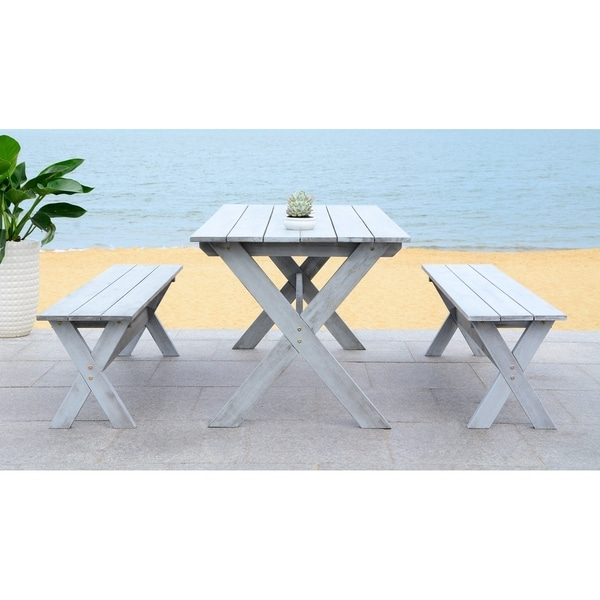 Safavieh Marina Grey 3-piece Table and Bench Dining Set