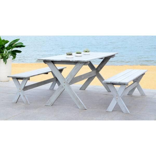 Fabulous Shop Safavieh Marina Grey 3 Piece Table And Bench Dining Set Machost Co Dining Chair Design Ideas Machostcouk