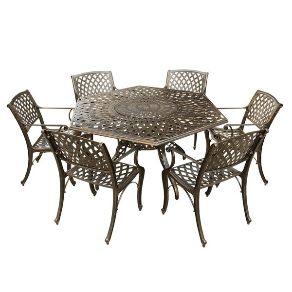 Lattice 63 inch Hexagon Dining Set with Lazy Susan and Six Chairs