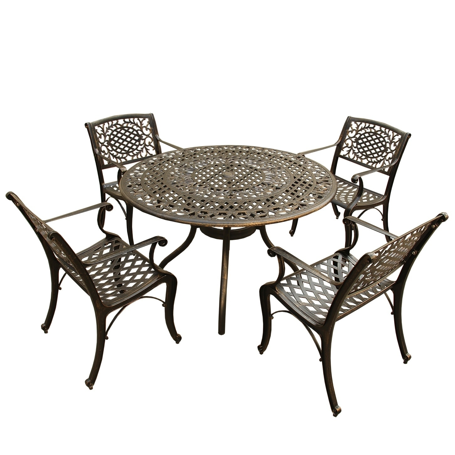 Awesome Outdoor Mesh Lattice 48 Inch Bronze Round Dining Set With Four Chairs Gmtry Best Dining Table And Chair Ideas Images Gmtryco