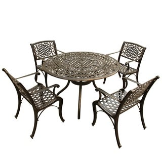 Outdoor Mesh Lattice 48 inch Bronze Round Dining Set with Four Chairs