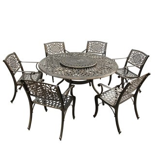 Havenside Home Goodland Outdoor Lattice 59 in. Round Dining Set with Lazy Susan and Six Chairs