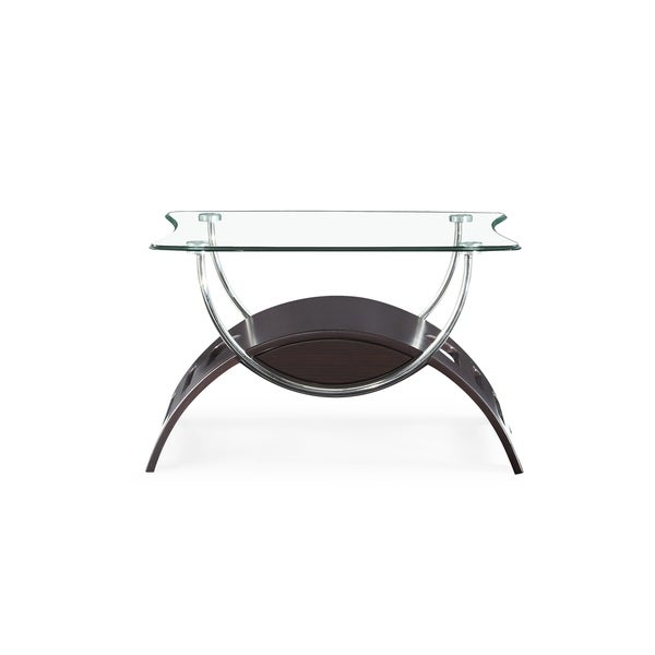 Global Furniture Tempered Glass End Table With Wenge And Chrome Base