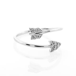 London Fine Jewelry Round Diamond Arrow in 14k White Gold Ring