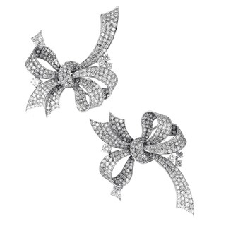Womens White Gold Full Diamond Pave Bow Brooch Set