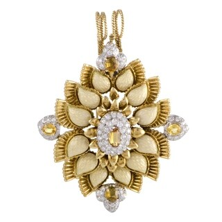 Cartier Enameled Yellow and White Gold Diamond and Yellow Sapphire Pendant/Brooch