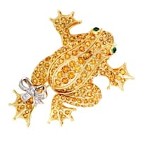Womens Gold Diamond Yellow Sapphire and Emerald Frog Brooch
