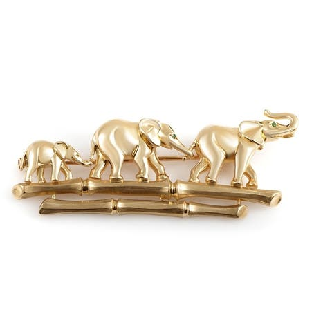 Cartier Yellow Gold Emerald Elephant Family Brooch