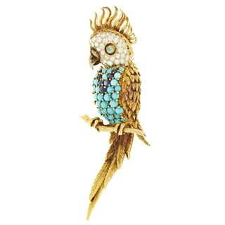 Hammerman Brothers Women's Multi-Tone Gold Diamond & Gemstone Parrot Brooch