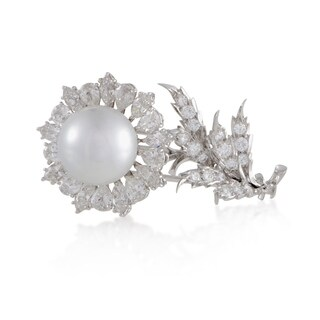 Buccellati Womens White Gold Diamond and Pearl Flower Brooch SSEF Certified