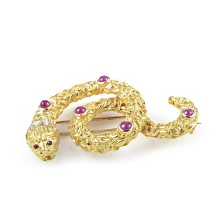 Ilias Lalaounis Multi-Tone Gold Diamond and Ruby Snake Pin
