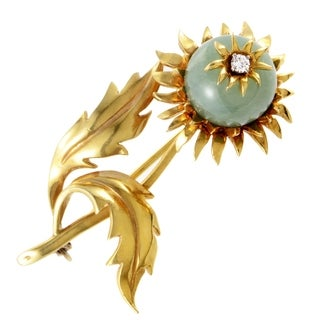Pre-Owned Tiffany & Co. Schlumberger Yellow Gold Diamond and Jade Flower Brooch