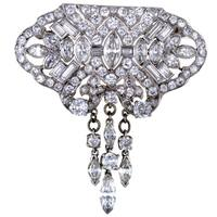 Platinum Full Diamond Pave and Dangling Diamonds Brooch
