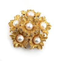 Buccellati Yellow Gold Pearl Floral Bouquet Brooch