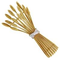 Pre-Owned Tiffany & Co. Women's Multi-Tone Gold & Diamond Bundle of Wheat Brooch
