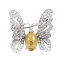 Chantecler White Gold Diamond Rutilated Quartz Butterfly Brooch
