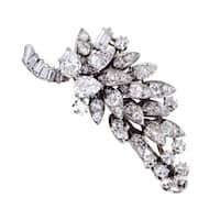 David Webb Antique Womens Platinum Diamond Cluster Brooch