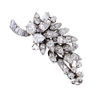 David Webb Antique Womens Platinum Diamond Cluster Brooch