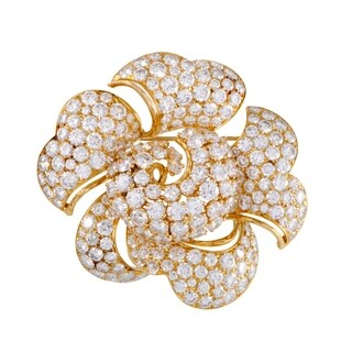Womens Yellow Gold Full Diamond Pave Large Flower Brooch
