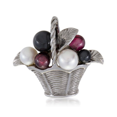 Van Cleef & Arpels Womens White Gold Pearl Tourmaline and Onyx Basket Pin
