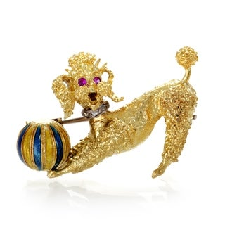 Womens Enameled Yellow Gold Diamond and Ruby Poodle Brooch