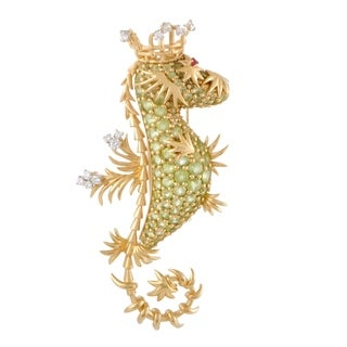 Pre-Owned Tiffany & Co. Schlumberger Yellow Gold Diamond Ruby and Peridot Seahorse Pendant/Brooch