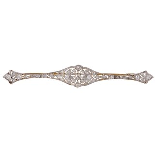 Antique Yellow Gold and Platinum Diamond Long Brooch