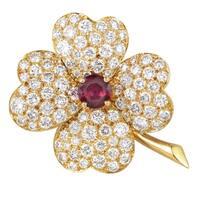 Van Cleef & Arpels Vintage Cosmos Yellow Gold Diamond & Ruby Pendant/Brooch