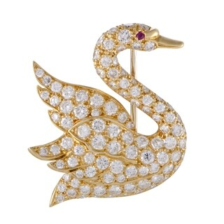 Mauboussin Yellow Gold Full Diamond Pave and Ruby Swan Brooch