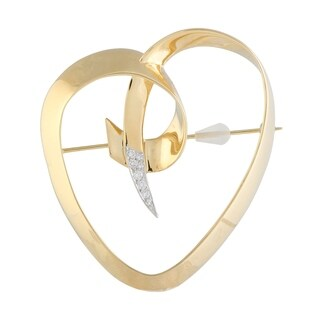 Pre-Owned Tiffany & Co. Paloma Picasso Yellow and White Gold Diamond Pave Heart Brooch