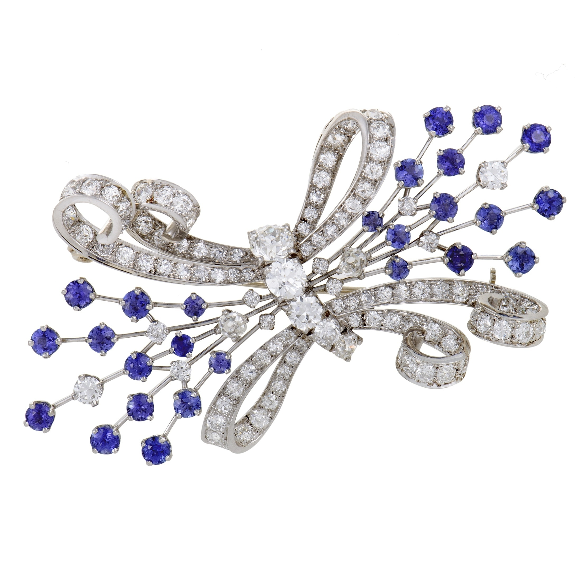 dea65a759d2 Shop Womens Platinum Full Diamond Pave and Sapphire Bow Brooch - Free  Shipping Today - Overstock - 20526210