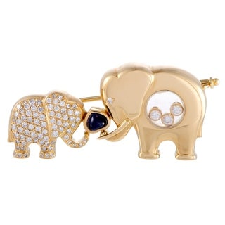 Chopard Happy Diamonds Yellow Gold Diamond and Sapphire Elephants Brooch