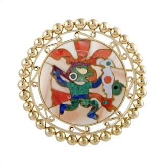 H. Stern Yellow Gold Multiple Gemstone Mosaic Pendant /Brooch