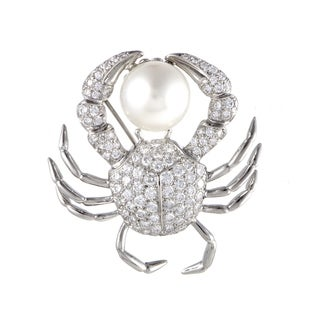 Pre-Owned Tiffany & Co. Platinum Diamond Pave and 13.8mm White Pearl Crab Brooch