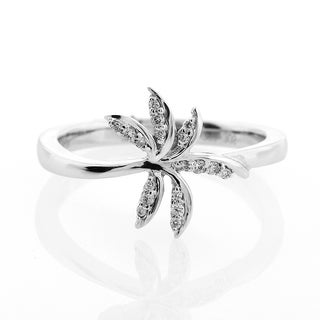 London Fine Jewelry Diamond Palm Tree Ring in 14K White Gold